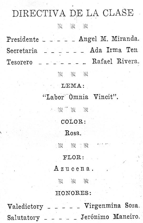 Comentando fotografías, 33 : Clase graduanda de 8vo grado, 1928