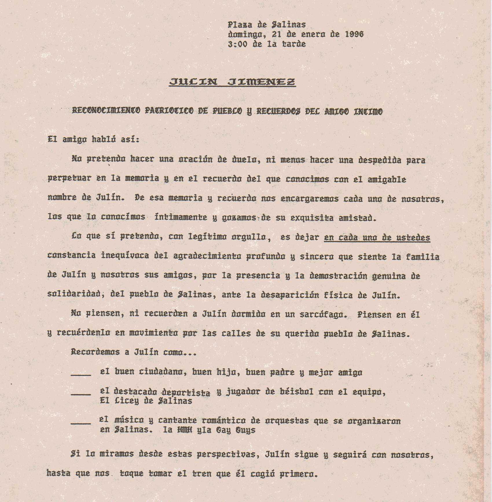 Documentos: Palabras de despedidas a Julín Jimenez / Clemente Llovet ...