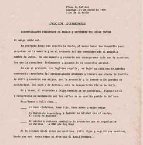 Palabras de despedida a Julín Jimenez