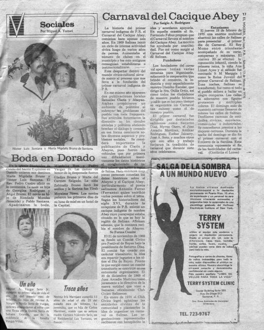 Carnaval del Cacique Abey 1976 El Vocero 001