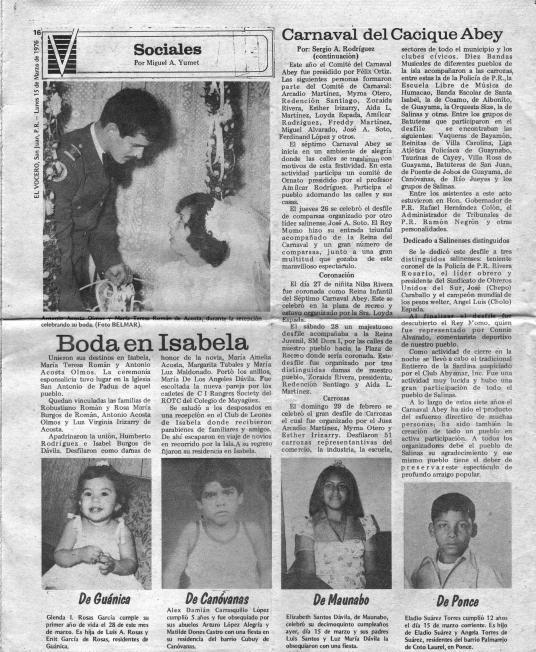 Carnaval del Cacique Abey 1976 El Vocero 002