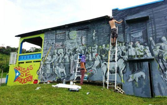 Mural en el Barrio Boquerón titulado El Velorio