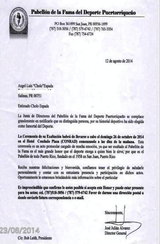 Carta Cholo Espada