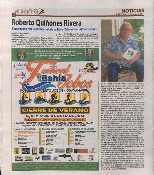 Reseñan libro Mis Vivencias en Salinas