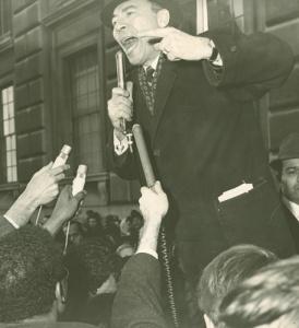 Gilberto Gerena Valentin speaking at a school boycott at 110 Liv