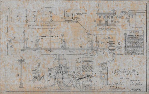 Uno de los plano para electrificar a Salinas, 1916